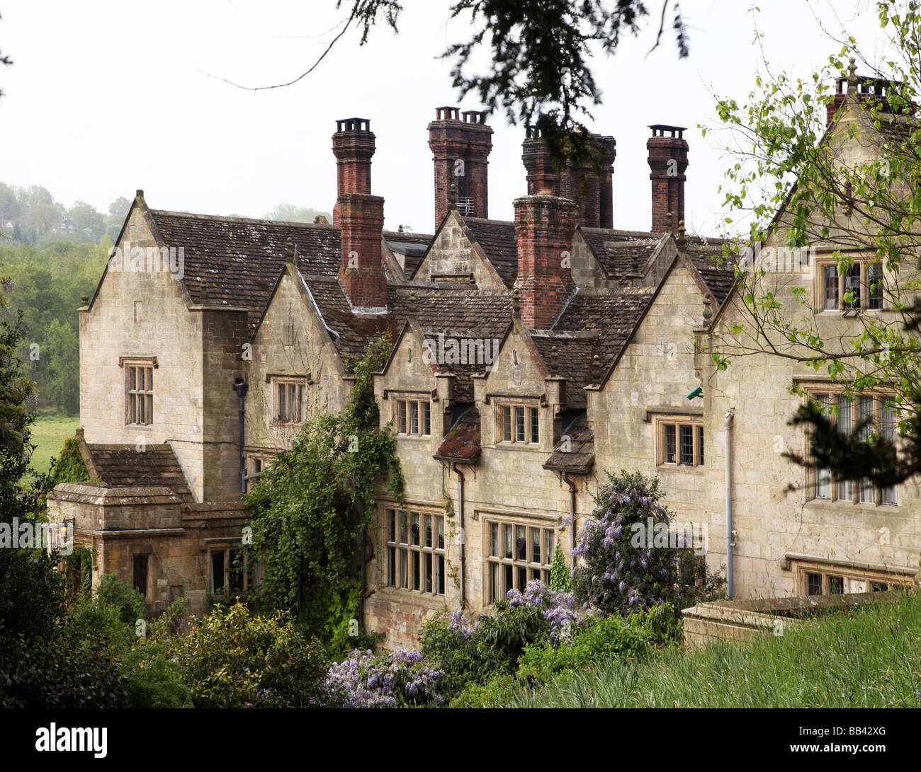 Victorian facade of Gravetye Manor Elizabethan manor house home to William Robinson until 1935 now a country house - Stock Image