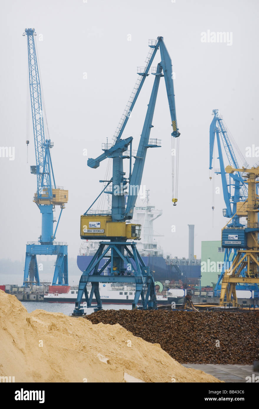 Tower Cranes at the Harbor of Stralsund Stock Photo