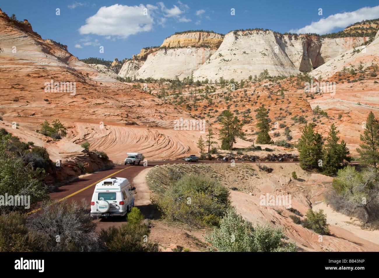 utah, zion national park, zion-mount carmel highway, rv, truck