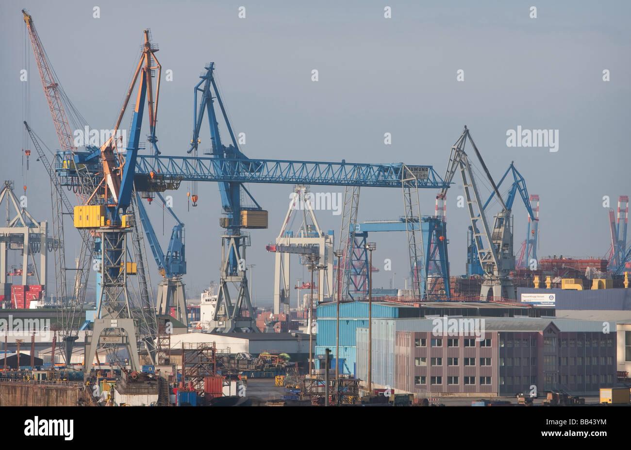 Tower Cranes at Port of Hamburg Stock Photo