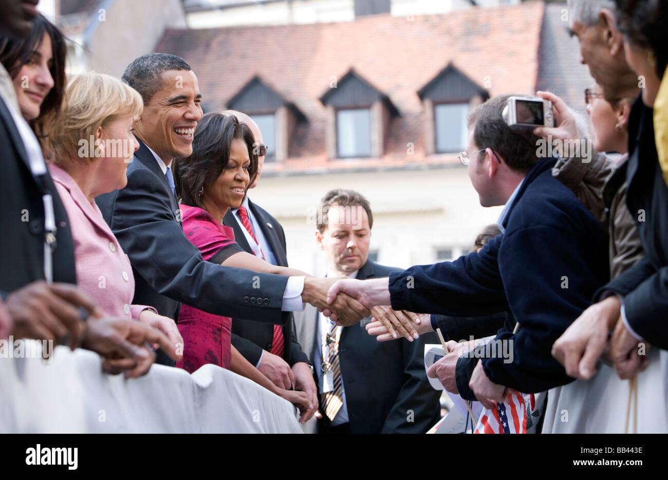 Angela MERKEL CDU Federal Chancellor of Germany and Chairman of the Christian Democratic Union CDU and Barack OBAMA - Stock Image