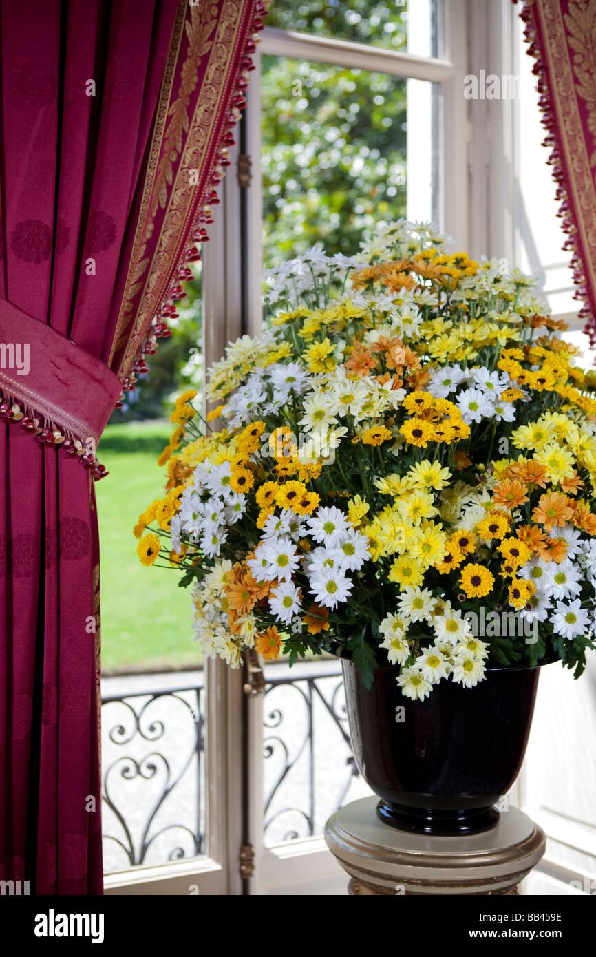 Room with view over the garden and beautiful daisy bouquet. Hotel Villa d'Este, Cernobbio, Lake Como, Italy - Stock Image