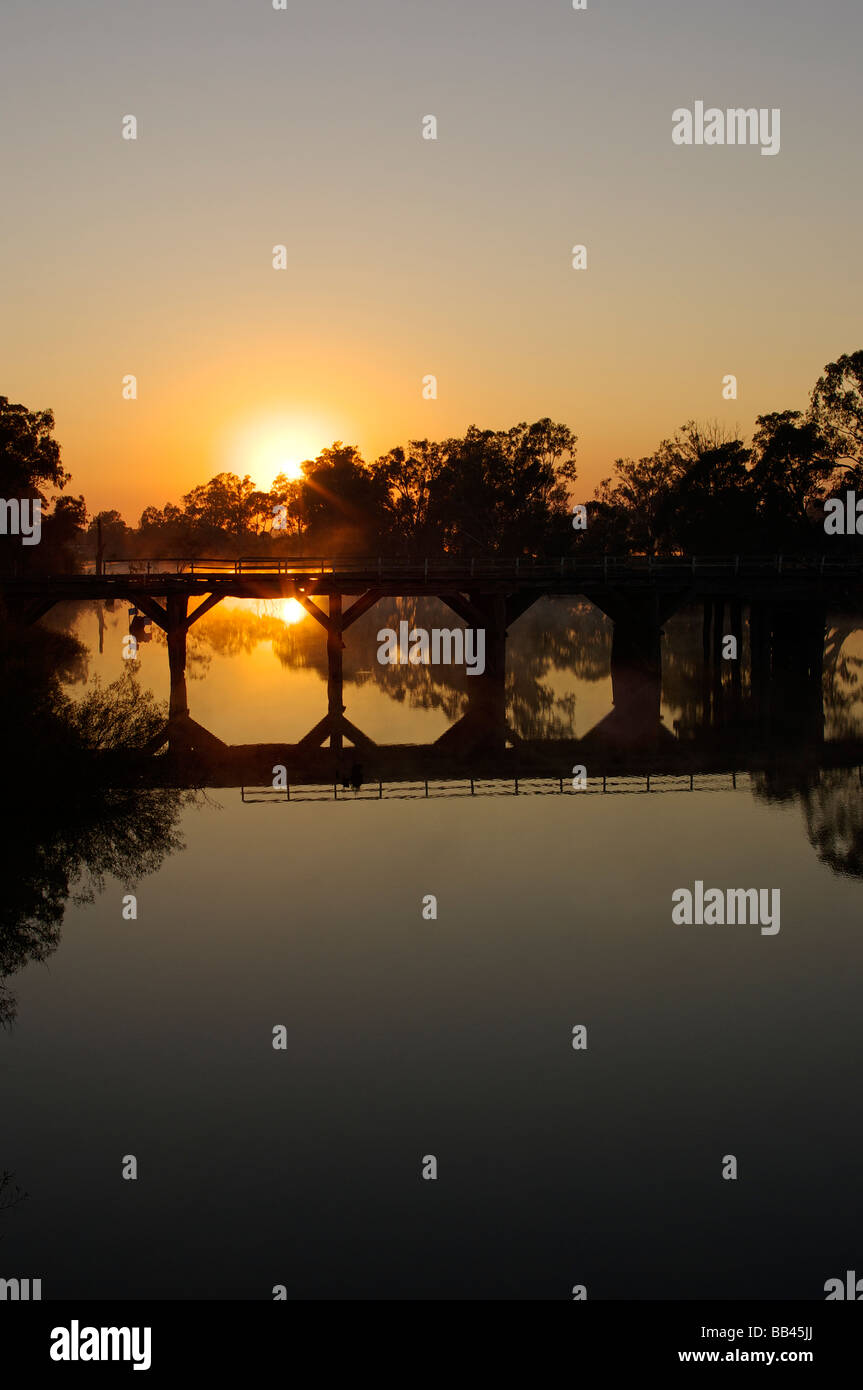 Chinaman's Bridge across the Goulburn River, near Nagambie, Victoria, Australia shortly after sunrise. Stock Photo