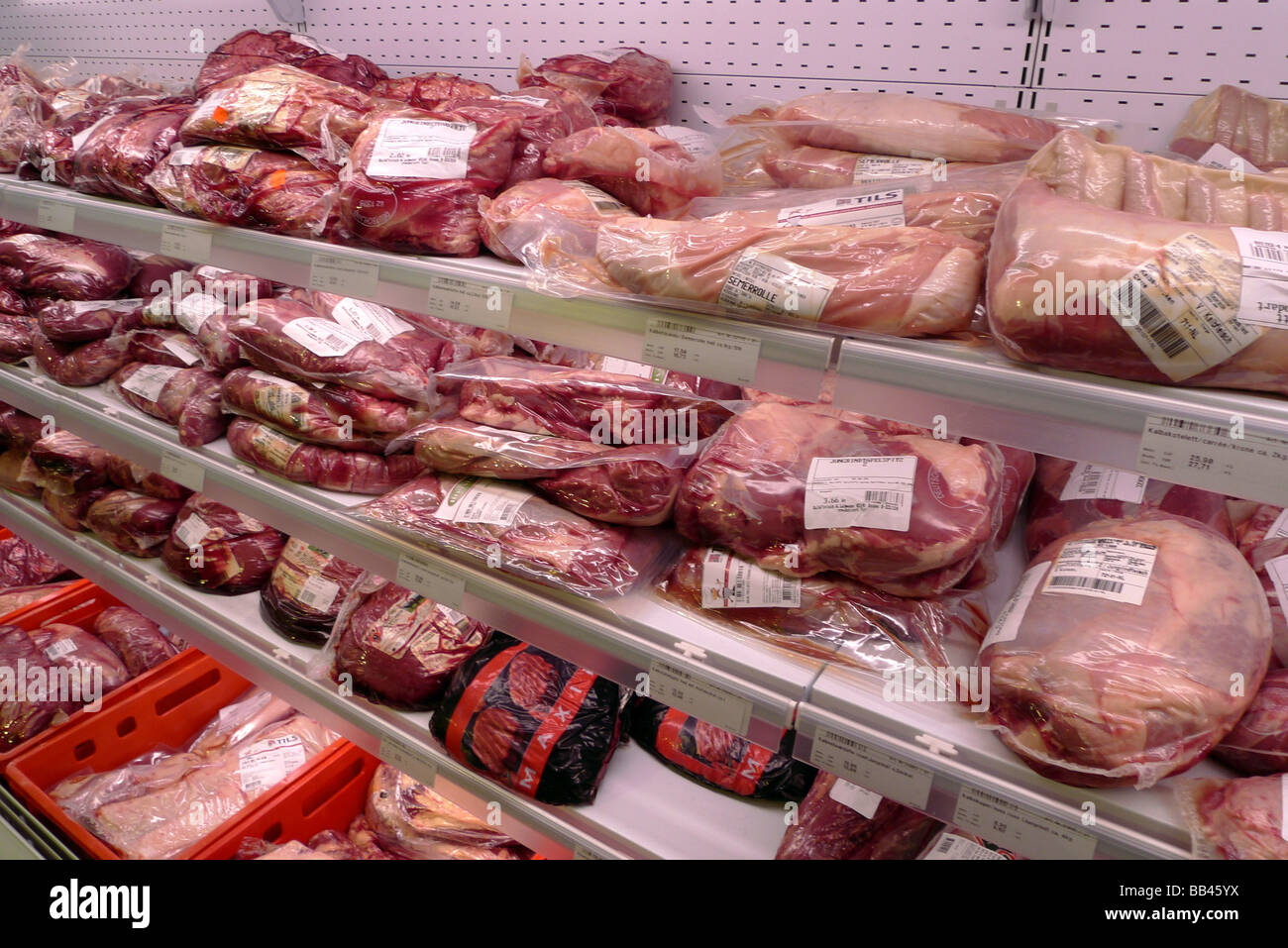 Meat bar at a supermarket - Stock Image