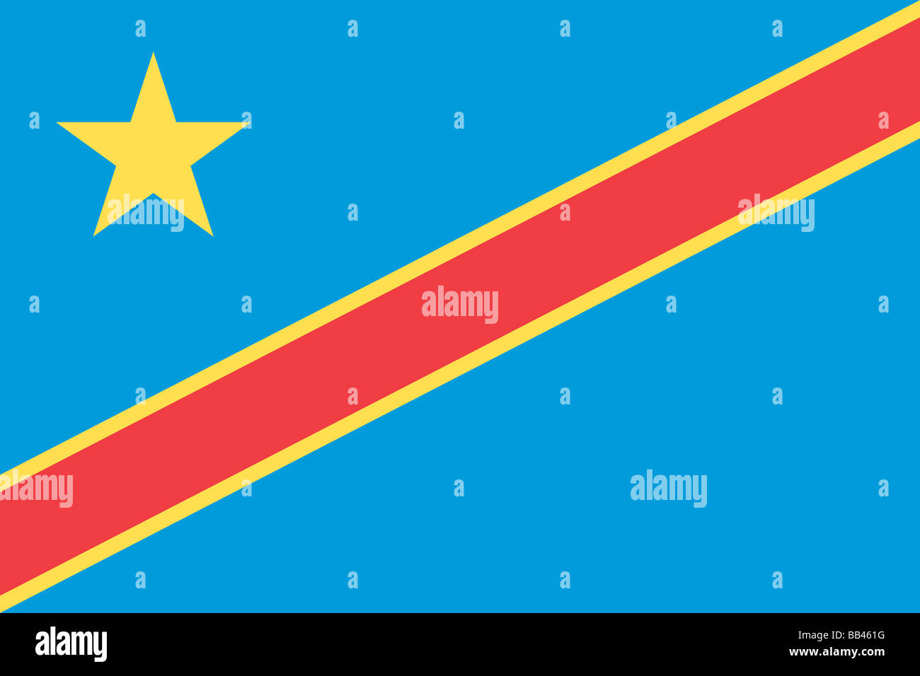 flag of the Democratic Republic of the Congo (formerly Zaire) - Stock Image