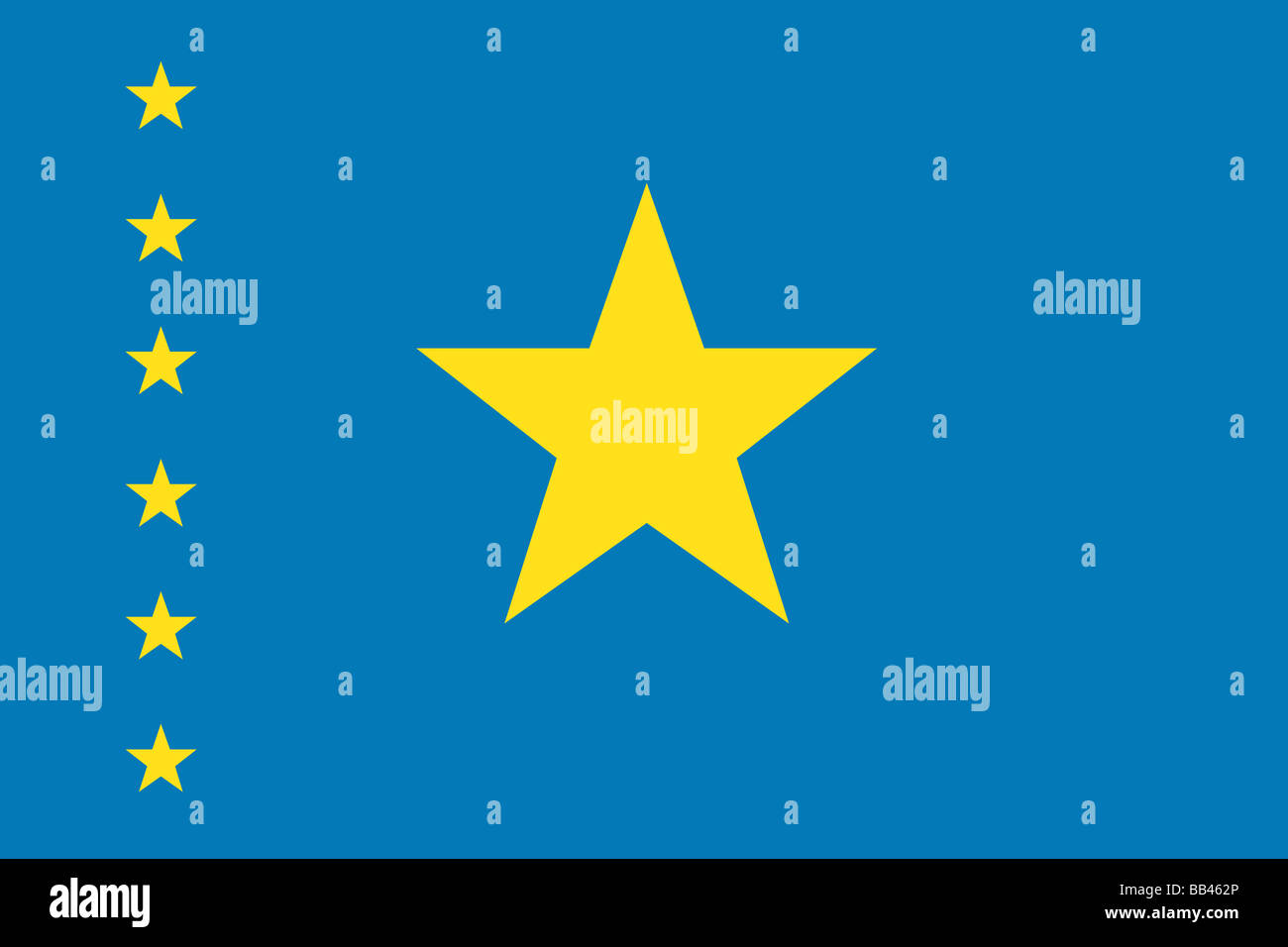 Historical flag of the Democratic Republic of the Congo, a country in Africa, from 1997 to 2006. - Stock Image