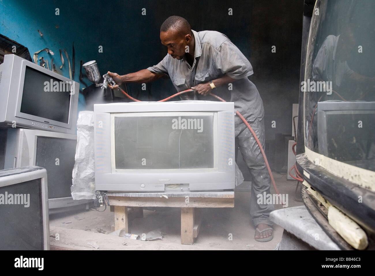 Electronics market in Lagos, Nigeria - Stock Image