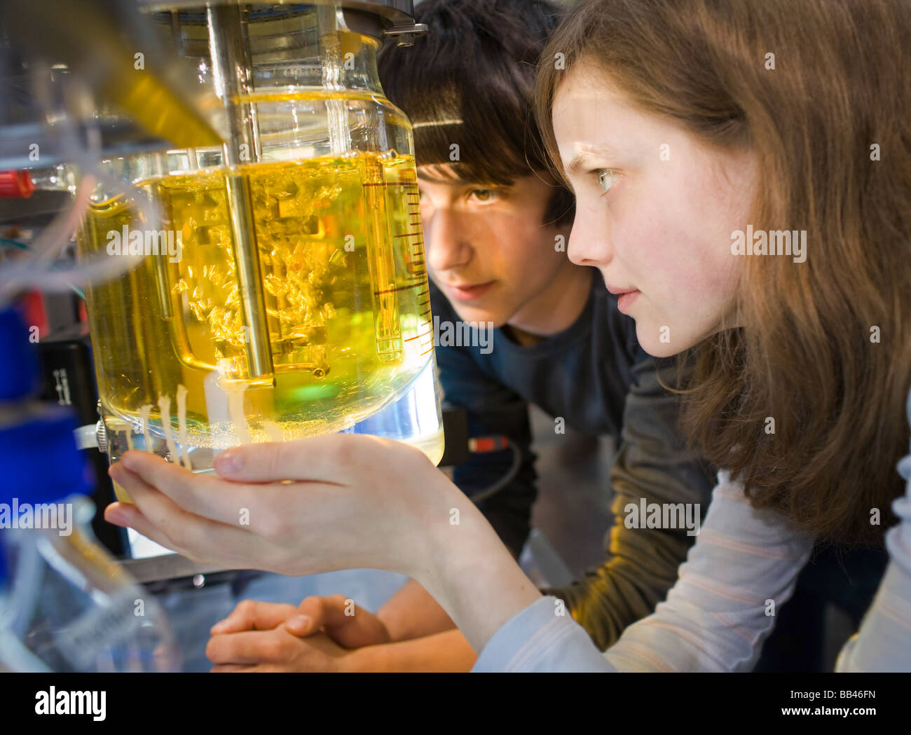 Students at chemistry class - Stock Image