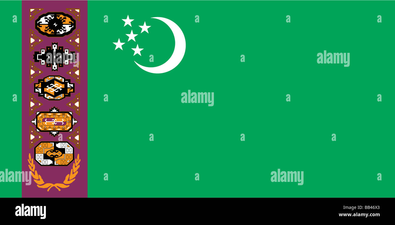 Historical flag of Turkmenistan, a country in central Asia, from 1997 to 2001. - Stock Image