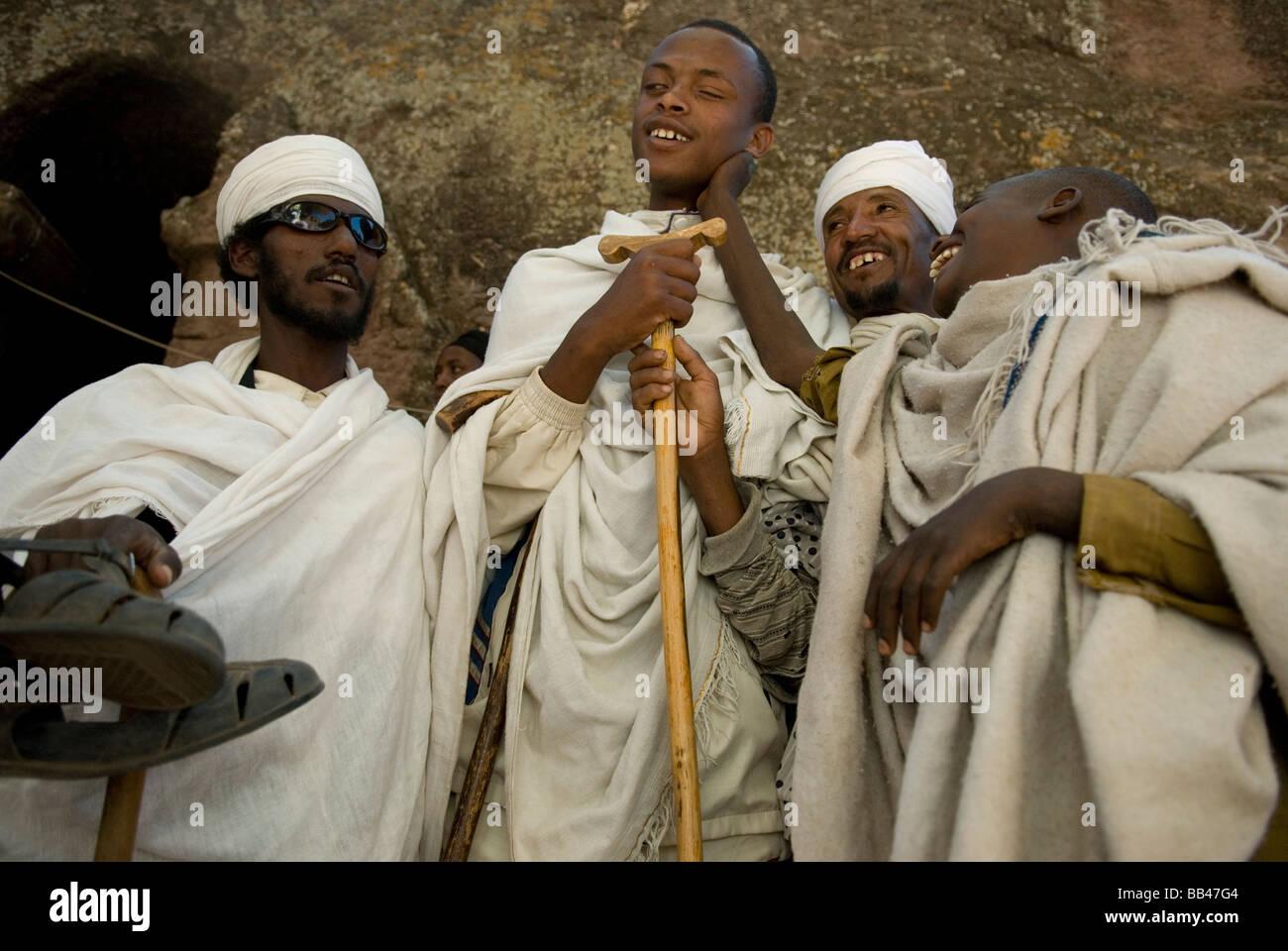 Group of blind pilgrims during Timkat festival in Lalibela, Ethiopia. - Stock Image