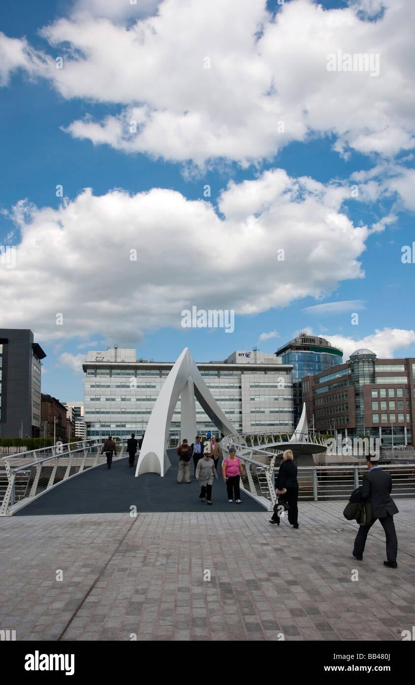 Tradeston Pedestrian & Bicycle Bridge Glasgow - Stock Image