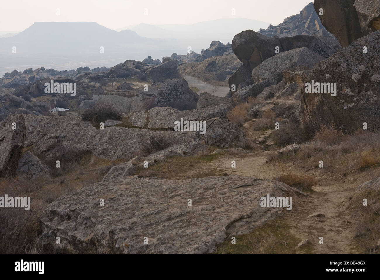 Barren landscape south of Qobustan Azerbaijan. - Stock Image