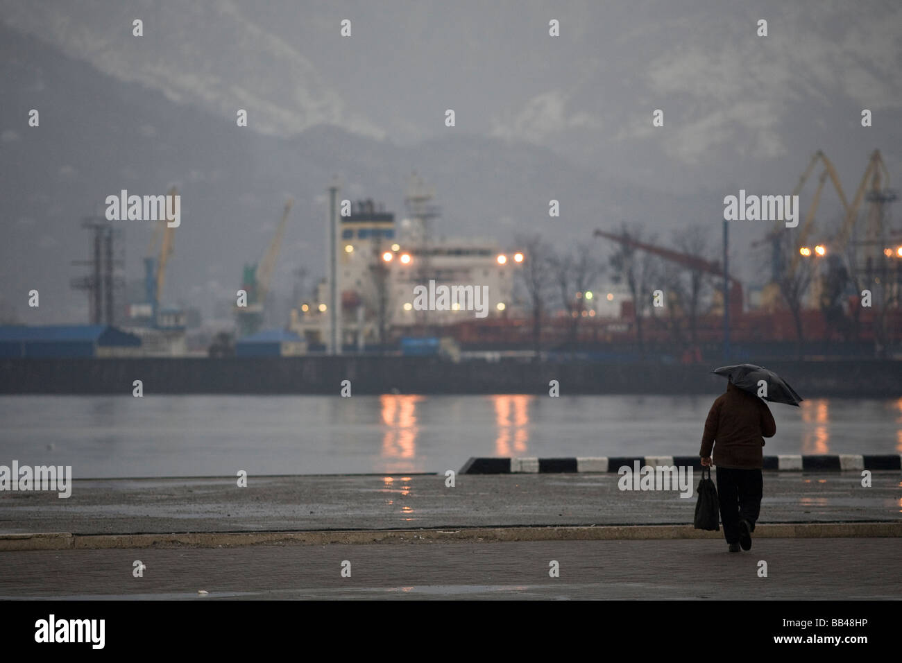 Black sea port of Batumi in Georgia - Stock Image