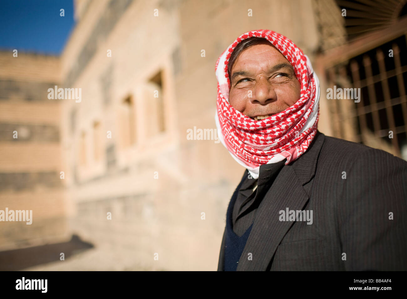 Portrait of a Syrian man smiling in Qala'at ibn maan. - Stock Image