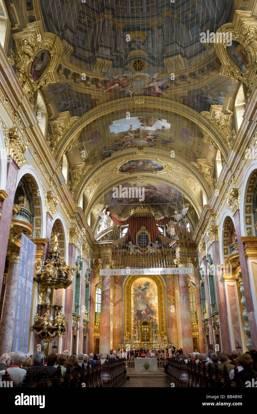 The opulent interior of the 17thC Jesuit Church, Vienna, Austria. - Stock Image