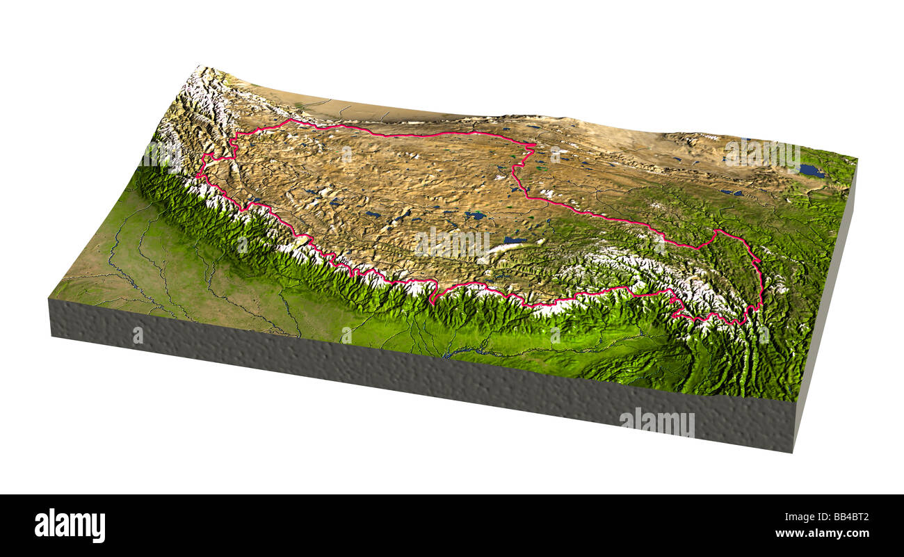 Tibet. Shaded 3D relief map with embossed border. Includes clip path for the background. - Stock Image