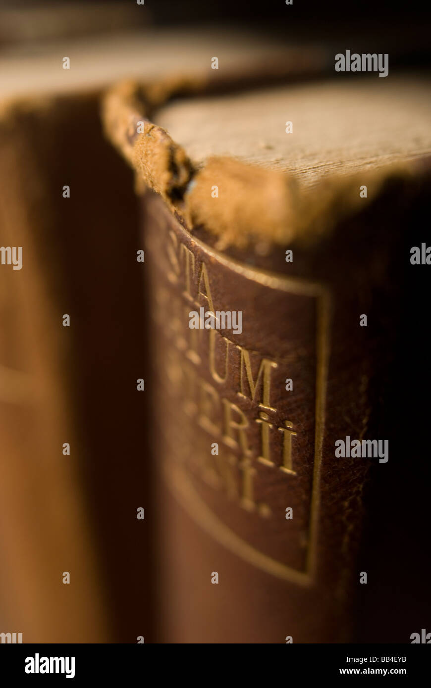 Old books on a library shelf at Bowdoin College in Brunswick, Maine.   ( selective focus ) - Stock Image