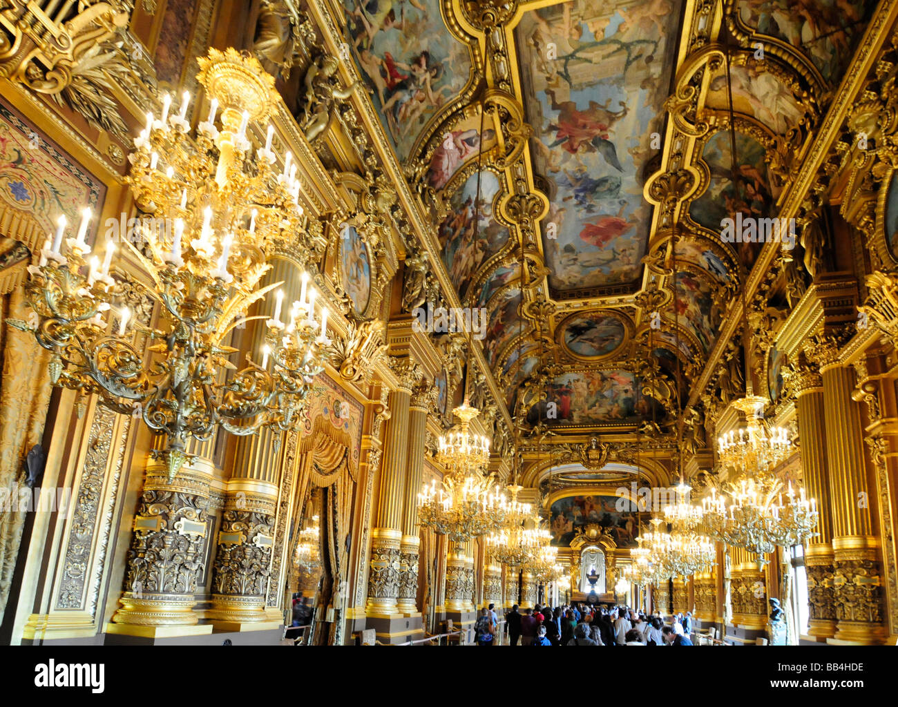 Inside the Grand Foyer of the palais Garnier, the oldest Opera house in Paris, France. - Stock Image