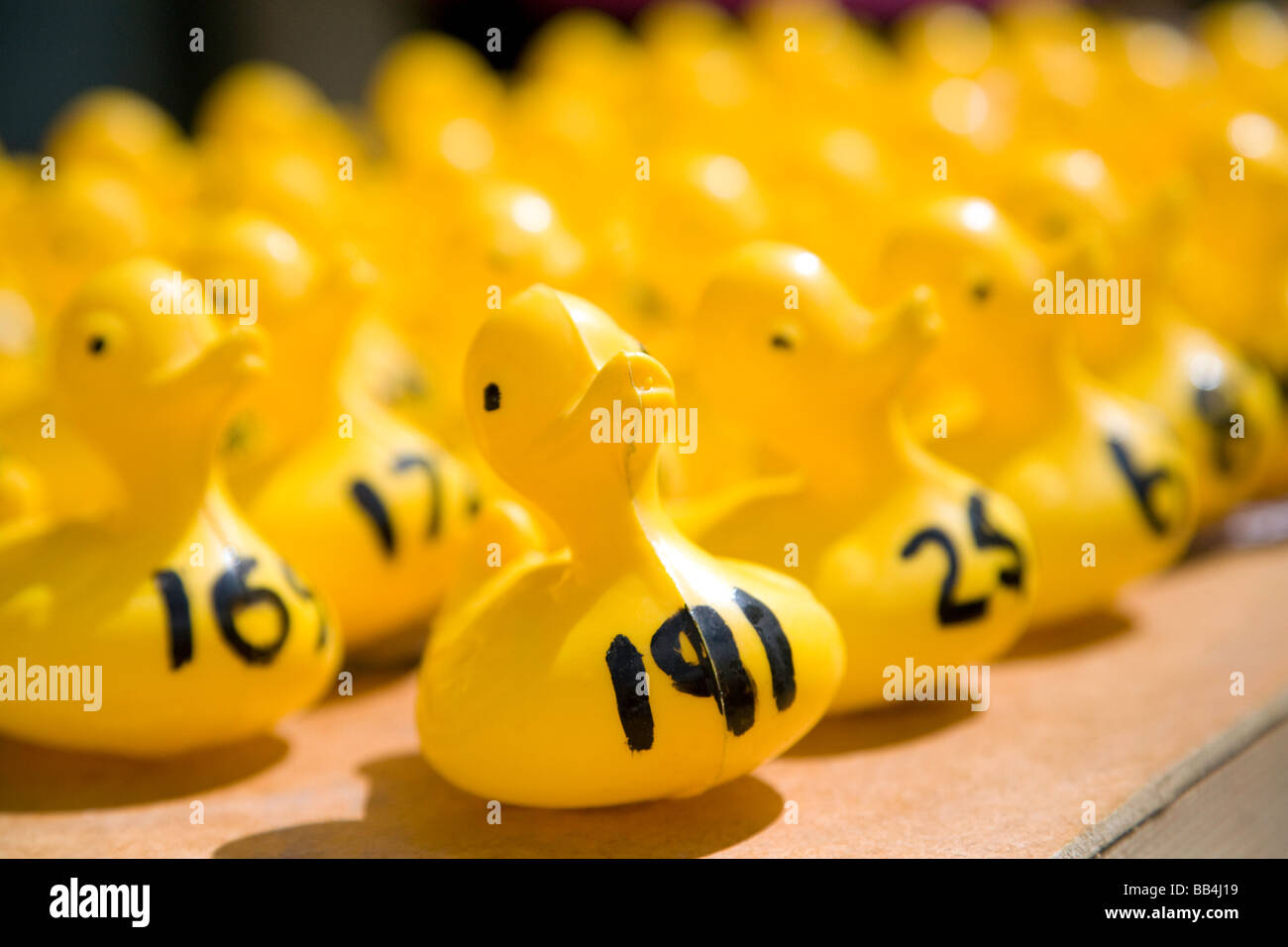 Participants in a Charity plastic duck race at Wallingford, Oxfordshire, UK - Stock Image