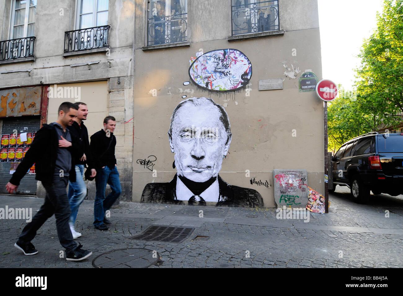 A graffiti representing Russian leader Vladimir Putin on the walls of Paris, France. - Stock Image