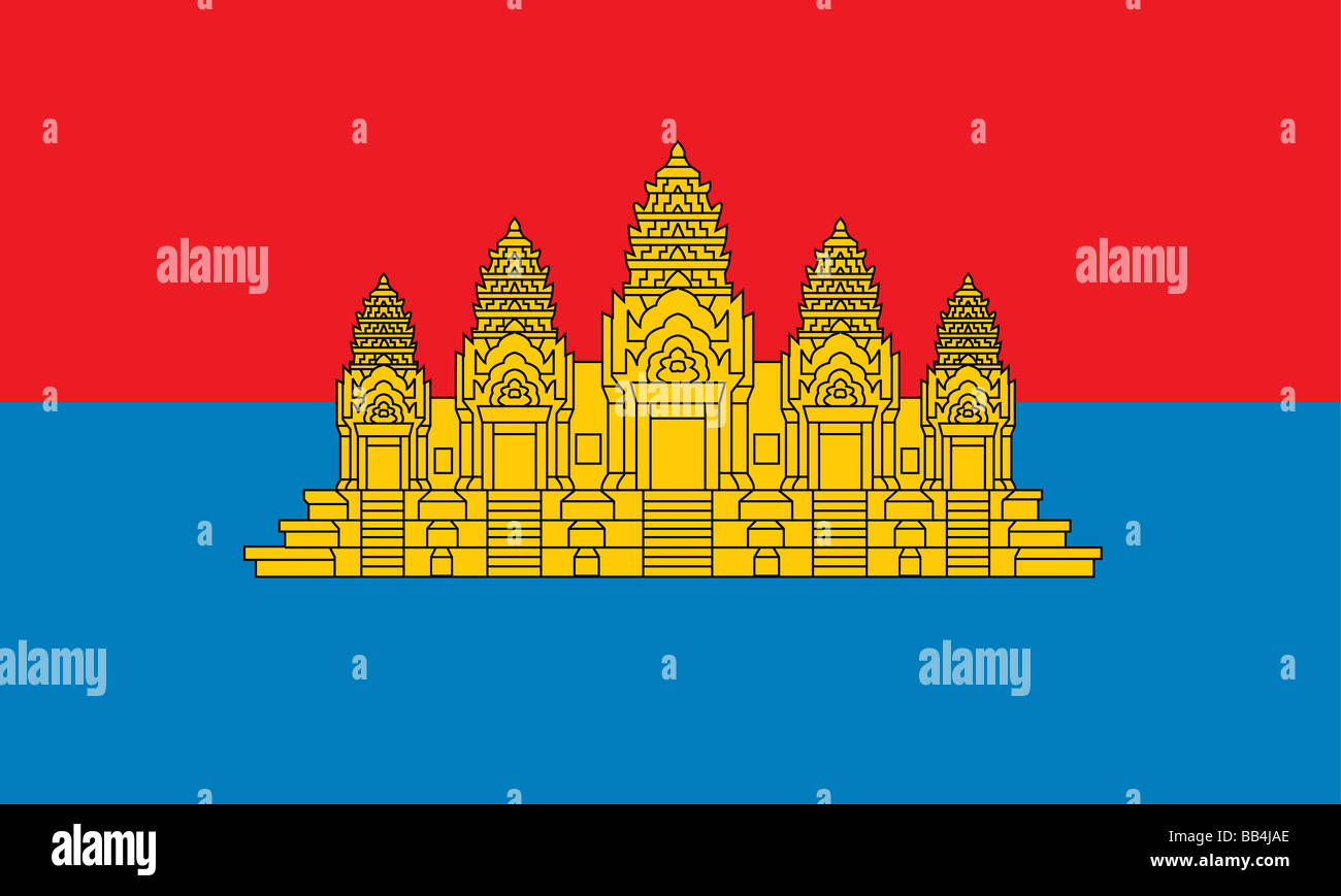 Historical flag of Cambodia, a country in Southeast Asia, from 1979 to 1992. - Stock Image