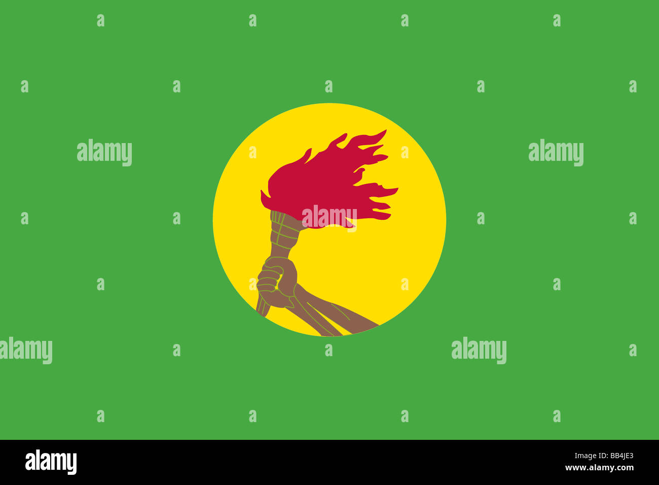 Historical flag of Zaire (the former Democratic Republic of the Congo), 1971 to 1997. - Stock Image