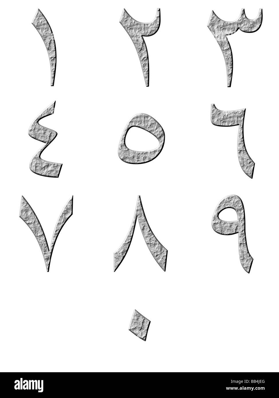 3d stone arab numbers - Stock Image