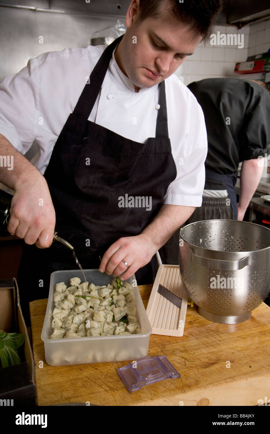 Exterior: Professional Chef At Work In A Restaurant Kitchen, Hand