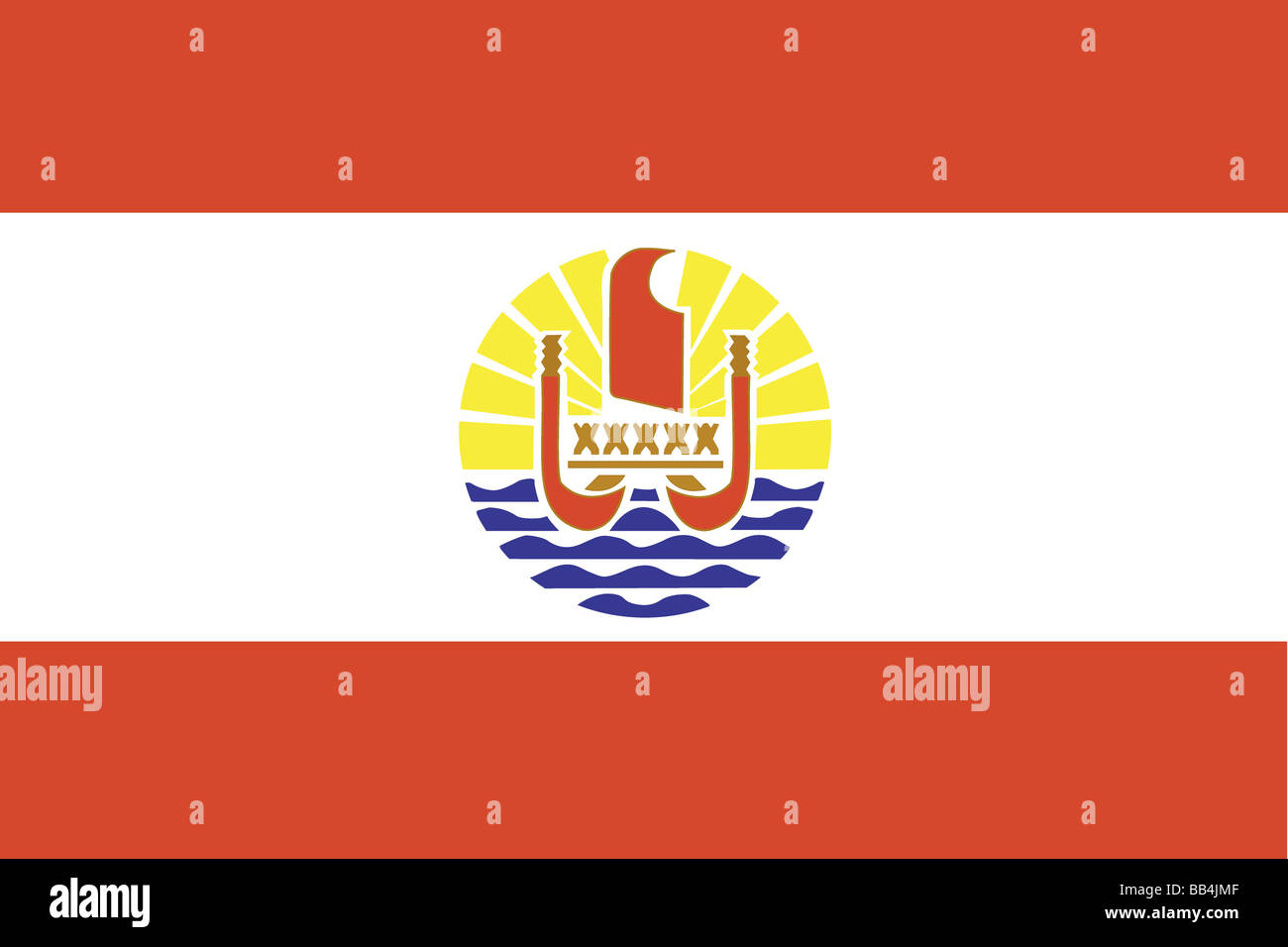 Flag of French Polynesia, an overseas territory of France in the South Pacific Ocean. - Stock Image