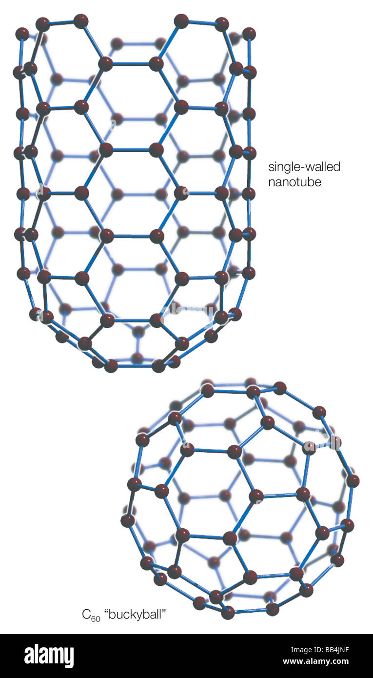 "Two fullerene structures: An elongated carbon nanotube and a spherical buckminsterfullerene, or ""buckyball."" - Stock Image"
