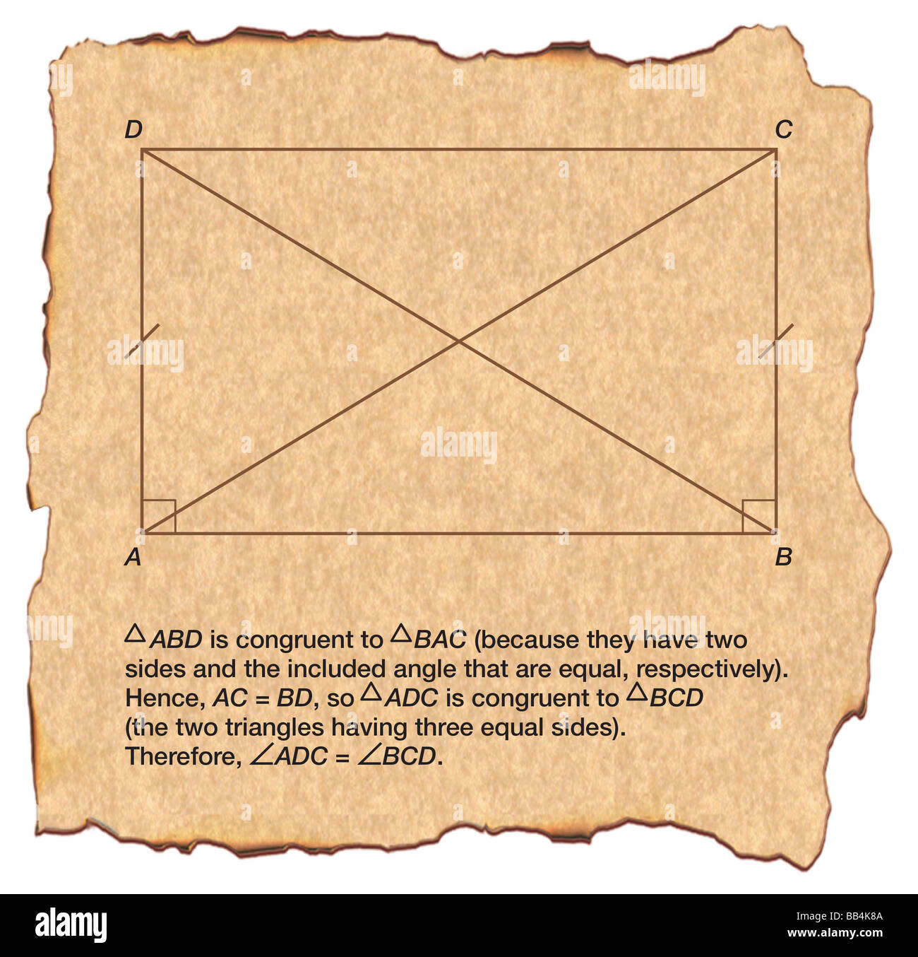 Quadrilateral of Omar Khayyam, constructed in an effort to prove Euclid's postulate concerning parallel lines - Stock Image