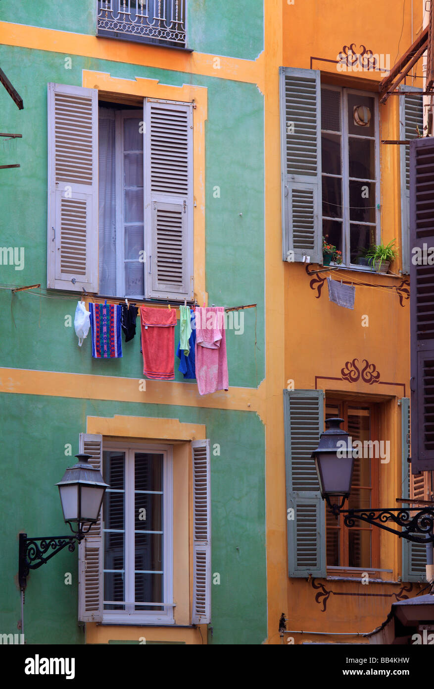 Typical French windows in the 'Vielle Ville' part of Nice, France - Stock Image
