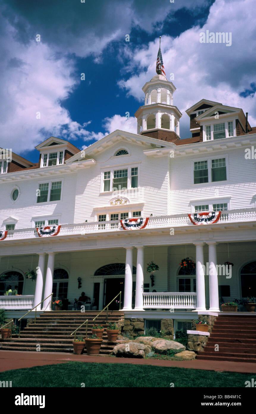 North America, United States, Colorado, Estes Park. Stanley Hotel, the Haunted Hotel. - Stock Image