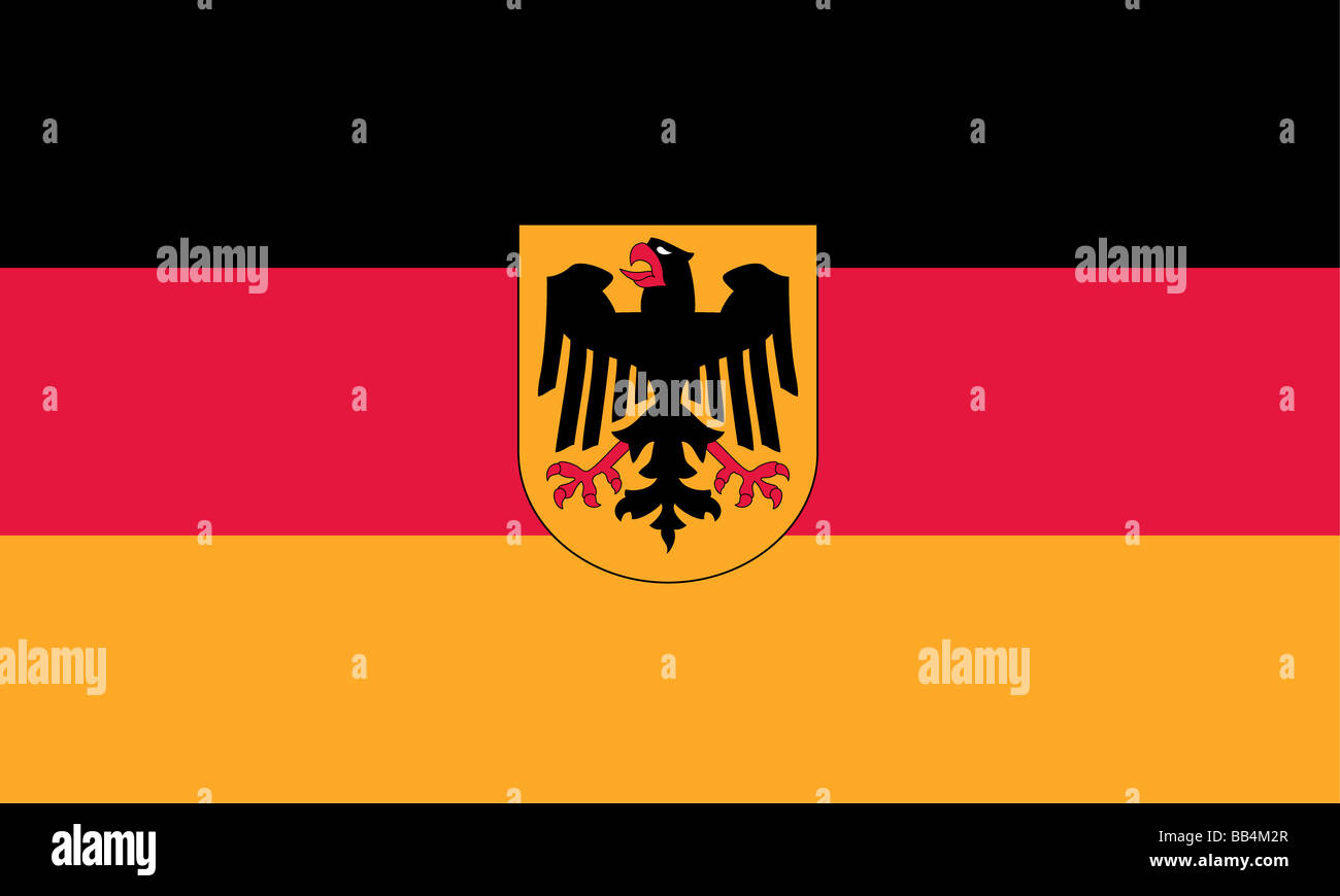 flag of Germany with detail of crest. - Stock Image