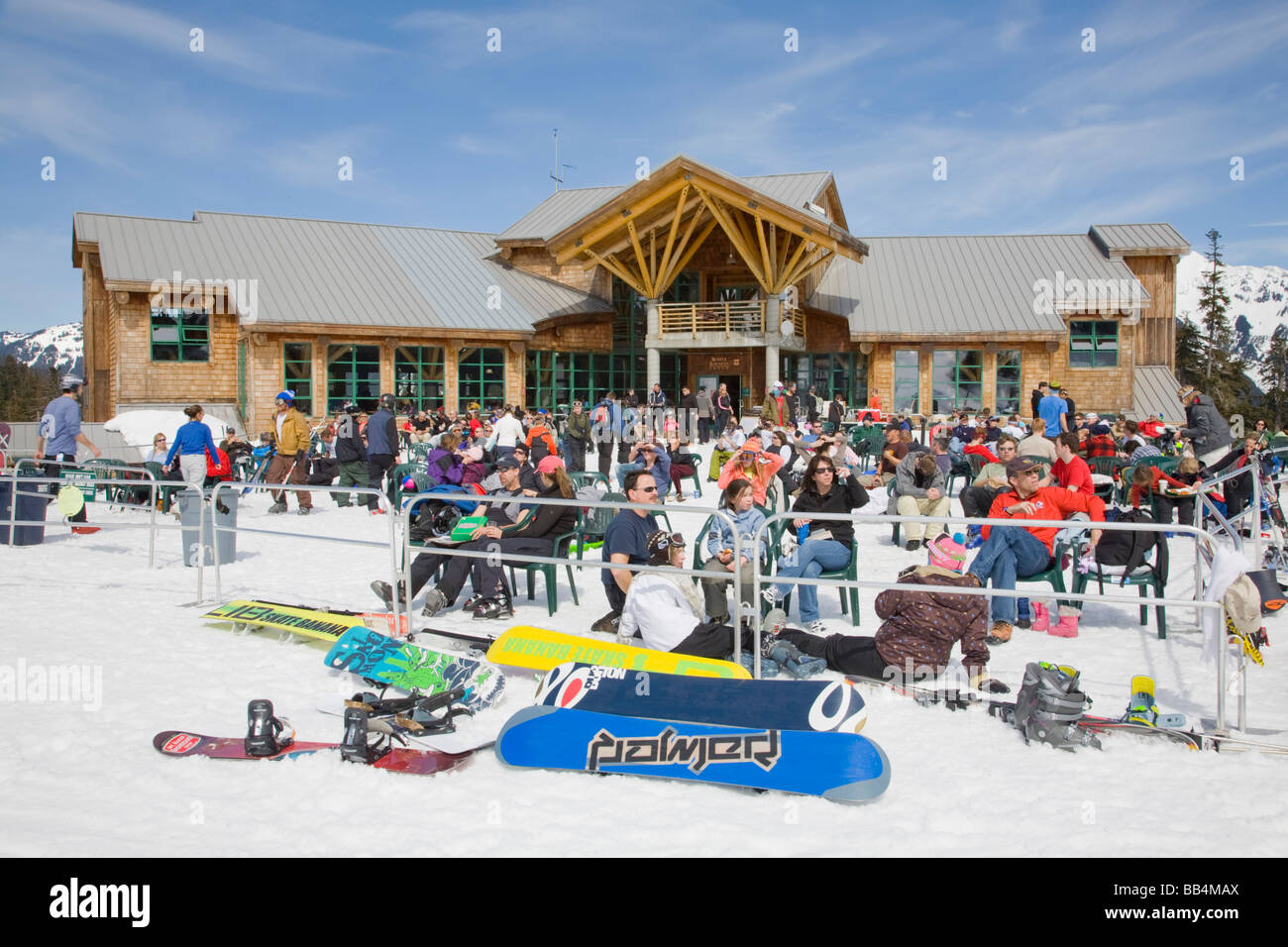 WA, Mount Baker Ski Area, White Salmon Lodge, Snow Boarders ...