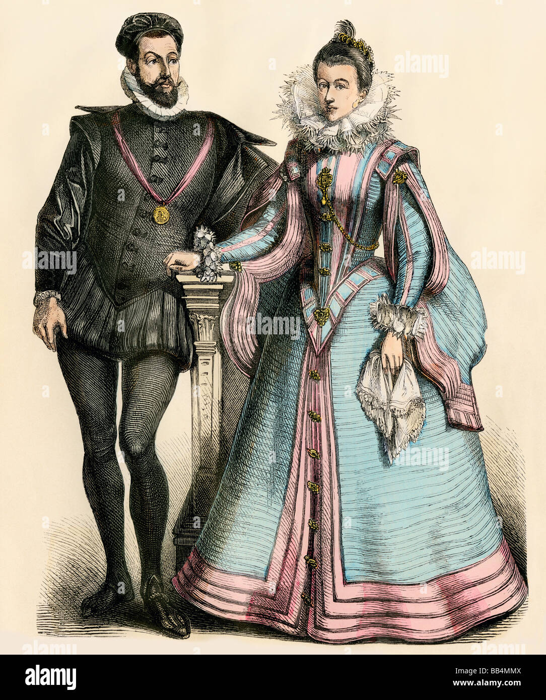 French court fashion of the 16th century Stock Photo ...