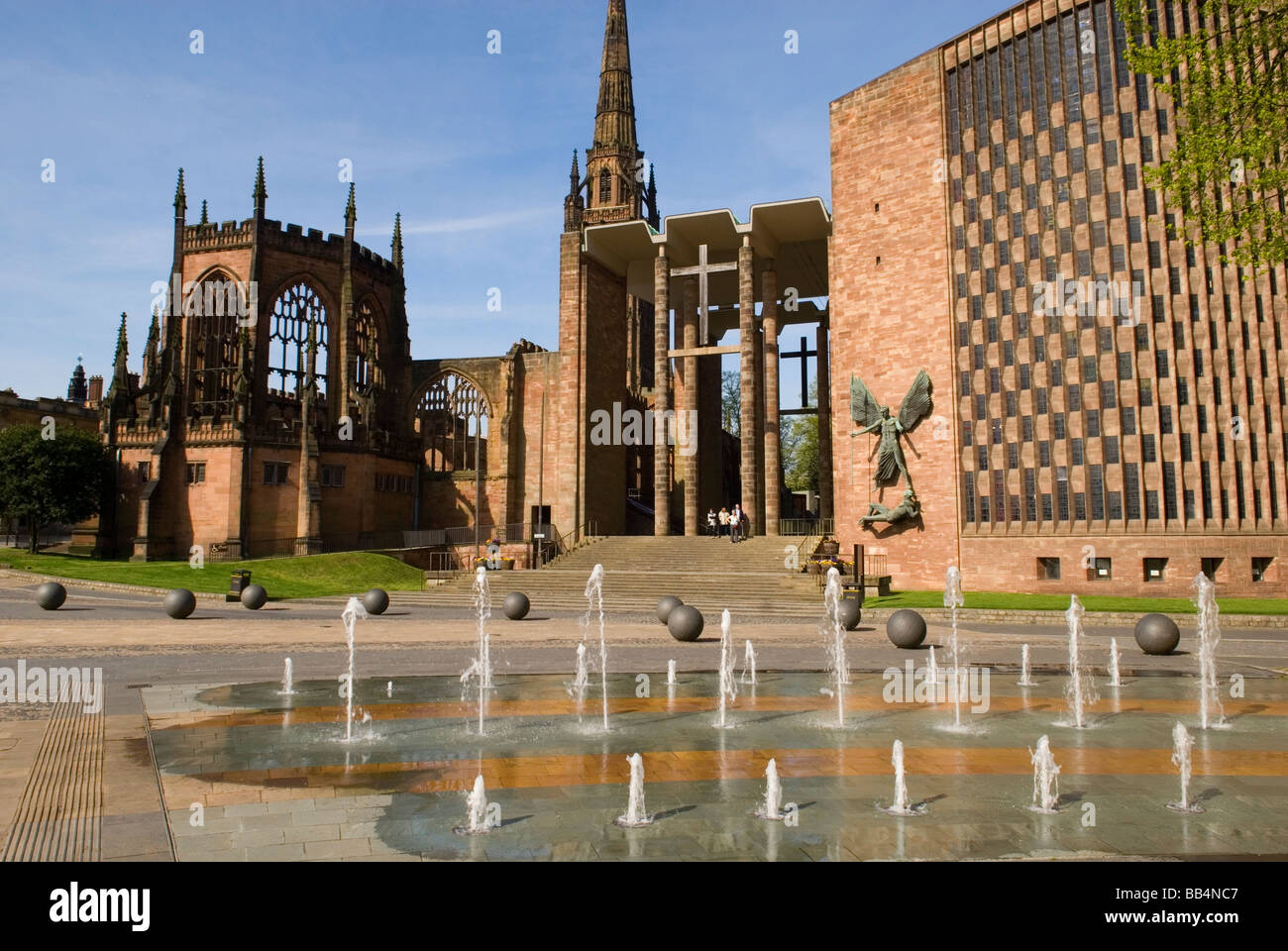 View of the New and Old Coventry Cathedrals - Stock Image