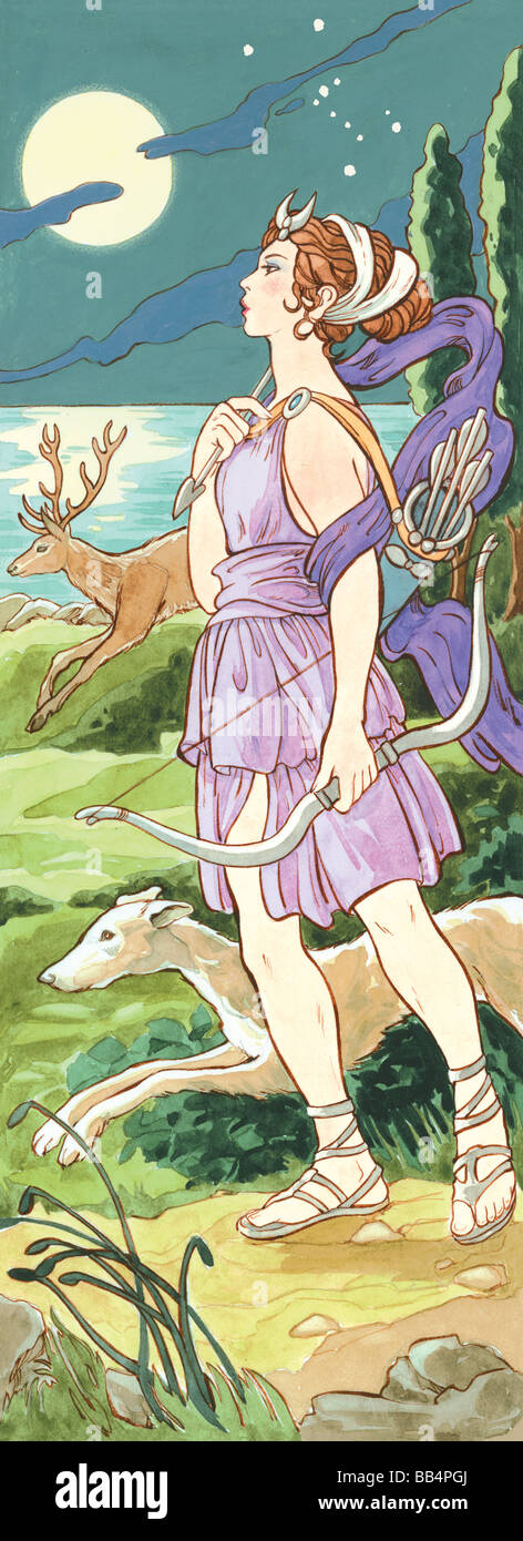 In ancient Greek mythology, Artemis was the goddess of hunting and wild animals, The ancient Romans called her Diana. - Stock Image