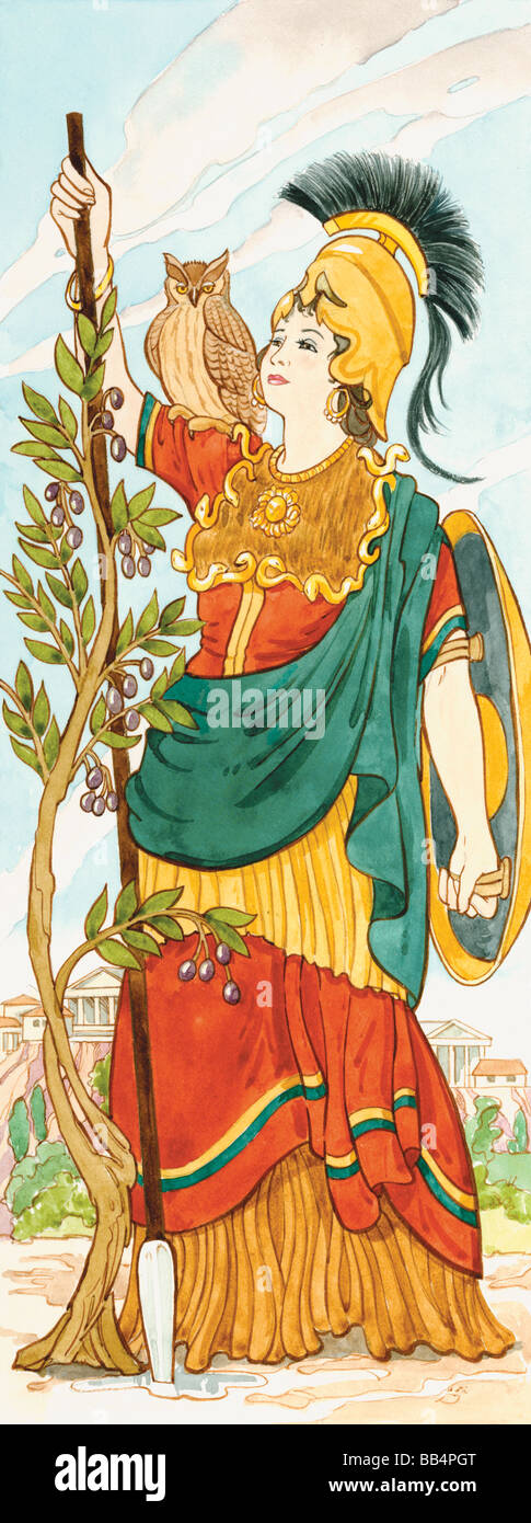 In Greek mythology Athena was the goddess of war, handicrafts, and wisdom and reason. The Romans associated her - Stock Image
