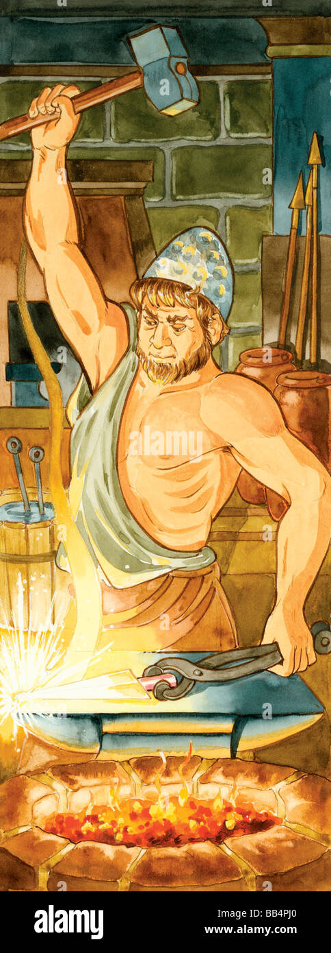 In Greek mythology, Hephaestus was the god of fire, and blacksmith and craftsman to the gods. Romans associated - Stock Image