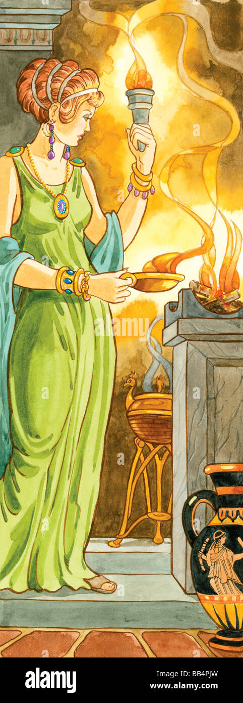 In Greek mythology, Hestia was the goddess of the hearth and one of the 12 Olympian deities. - Stock Image