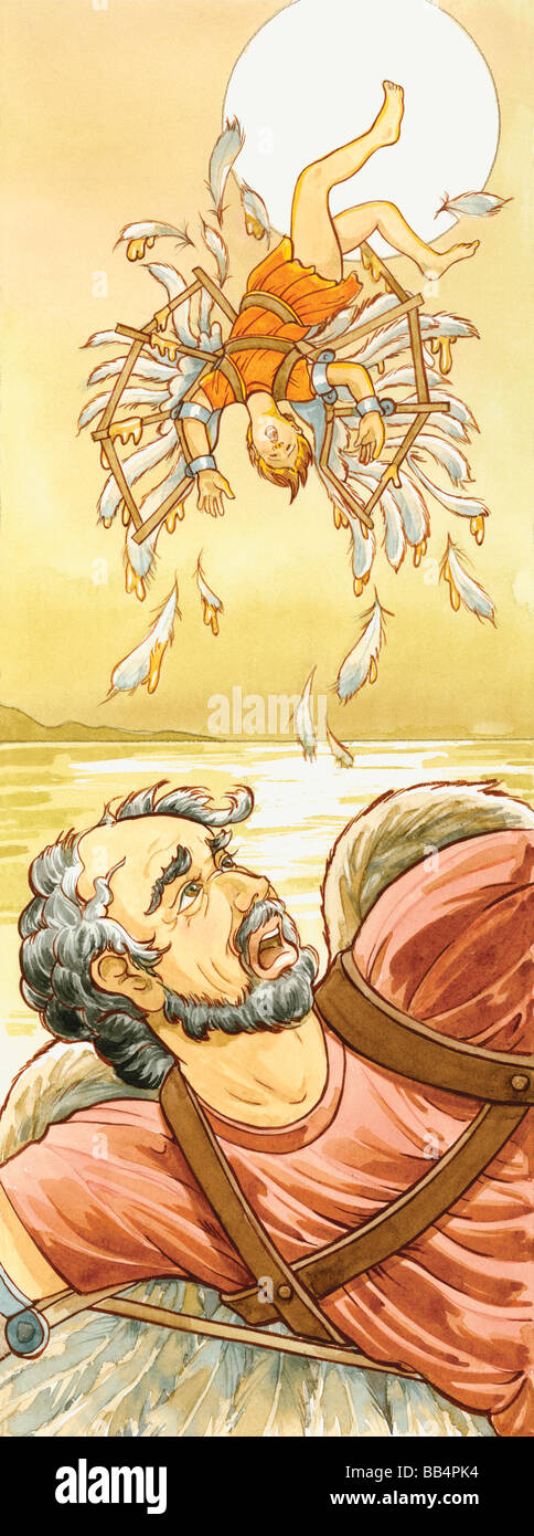 In Greek mythology the inventor Daedalus and his son Icarus used wings of wax to fly, but Icarus flew too close - Stock Image