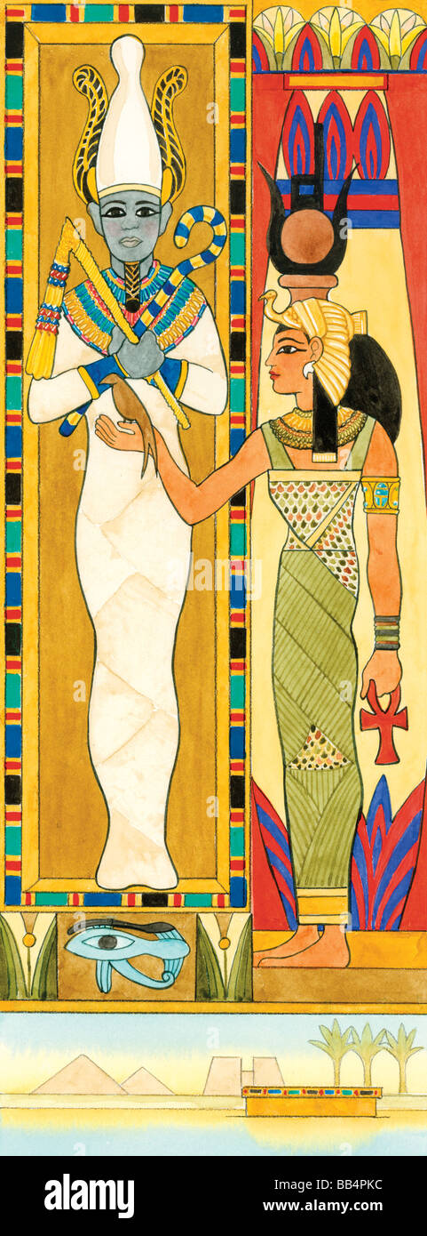 Ancient Egyptian gods, Isis (r), magical healer and role model to women, and Osiris, god of fertility and embodiment Stock Photo