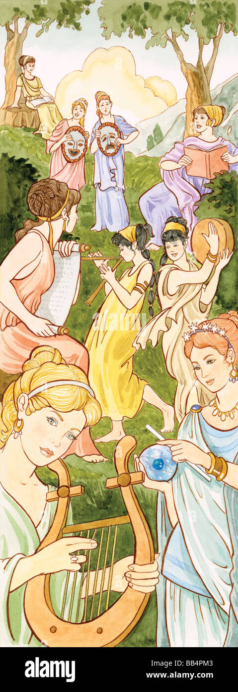 In ancient Greek and Roman mythology the Muses were nine sister goddesses who inspired people in the arts and sciences. Stock Photo