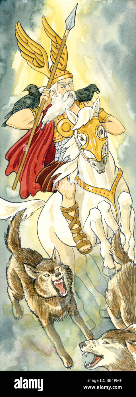 In Norse mythology, Odin was the ruler of heaven and Earth, the god of warriors and poets, as well as a skilled - Stock Image
