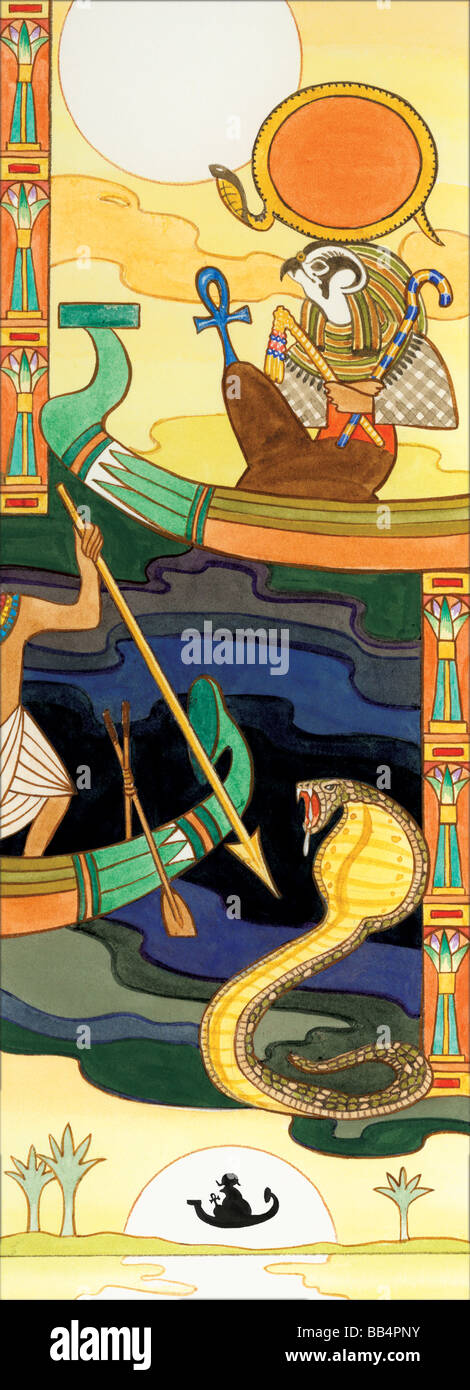 In Egyptian mythology, Ra was supreme sun god. Belief in him was so strong that the ancient pharaohs claimed relation - Stock Image