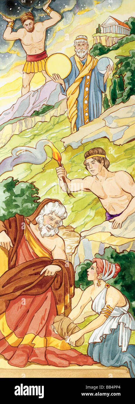 In ancient Greek mythology, the Titans were giants who once ruled the world, until Zeus overthrew them and took - Stock Image