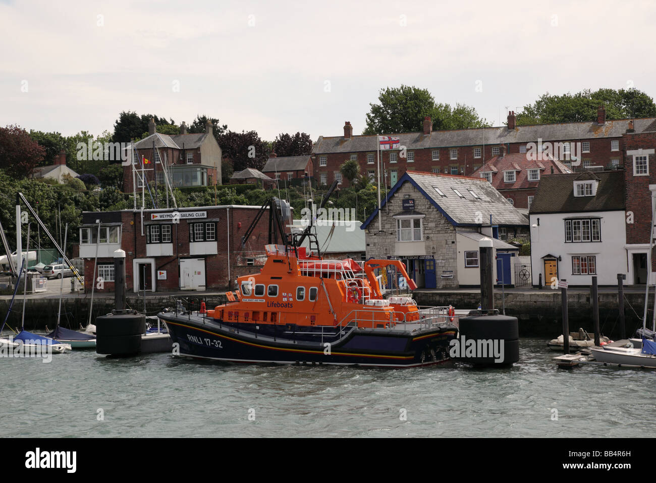 RNL Lifeboat moored in Weymouth, Dorset, England - Stock Image