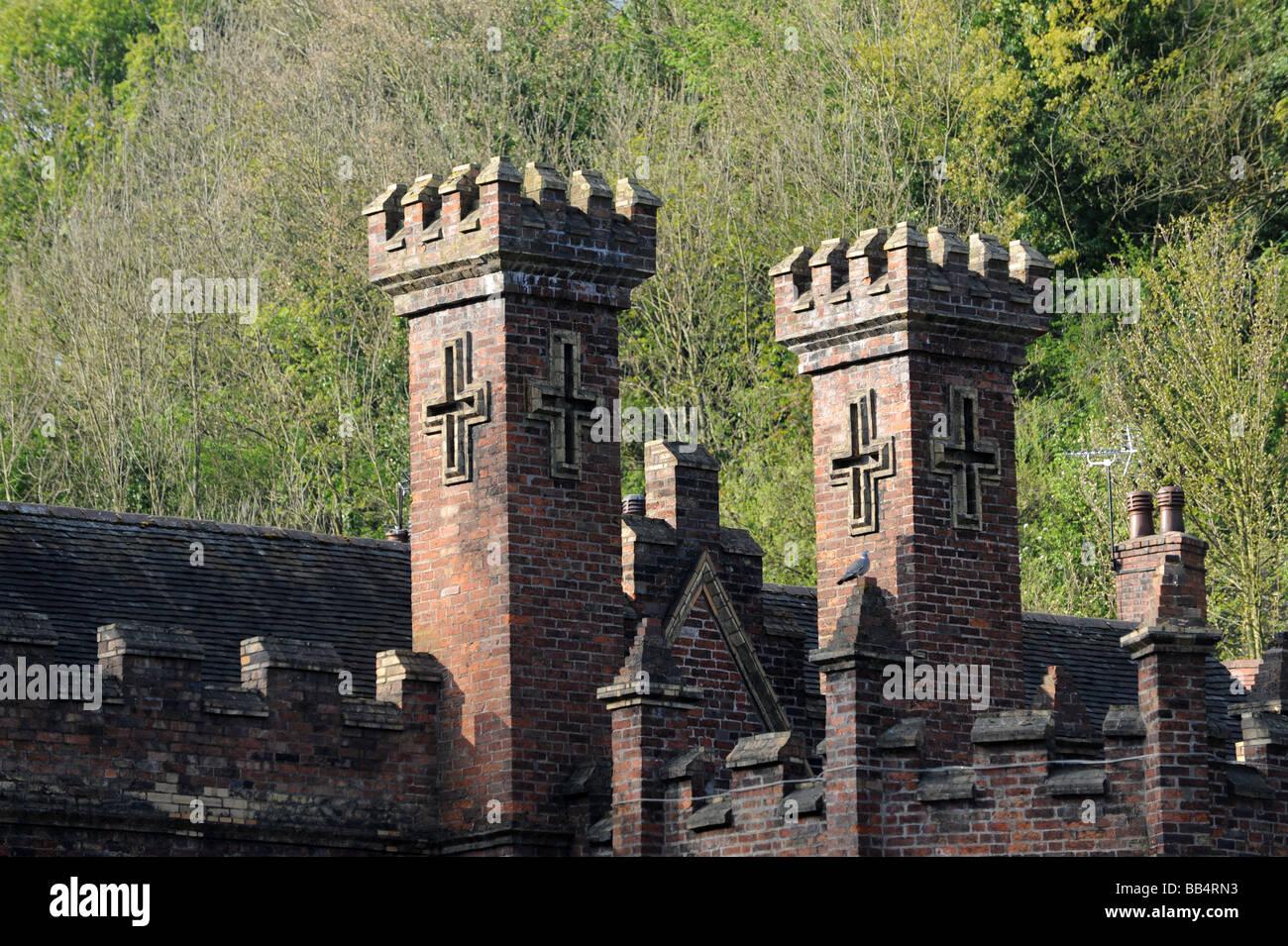 Decorative chimney s on the Gothic Warehouse in Ironbridge Shropshire England Uk Stock Photo