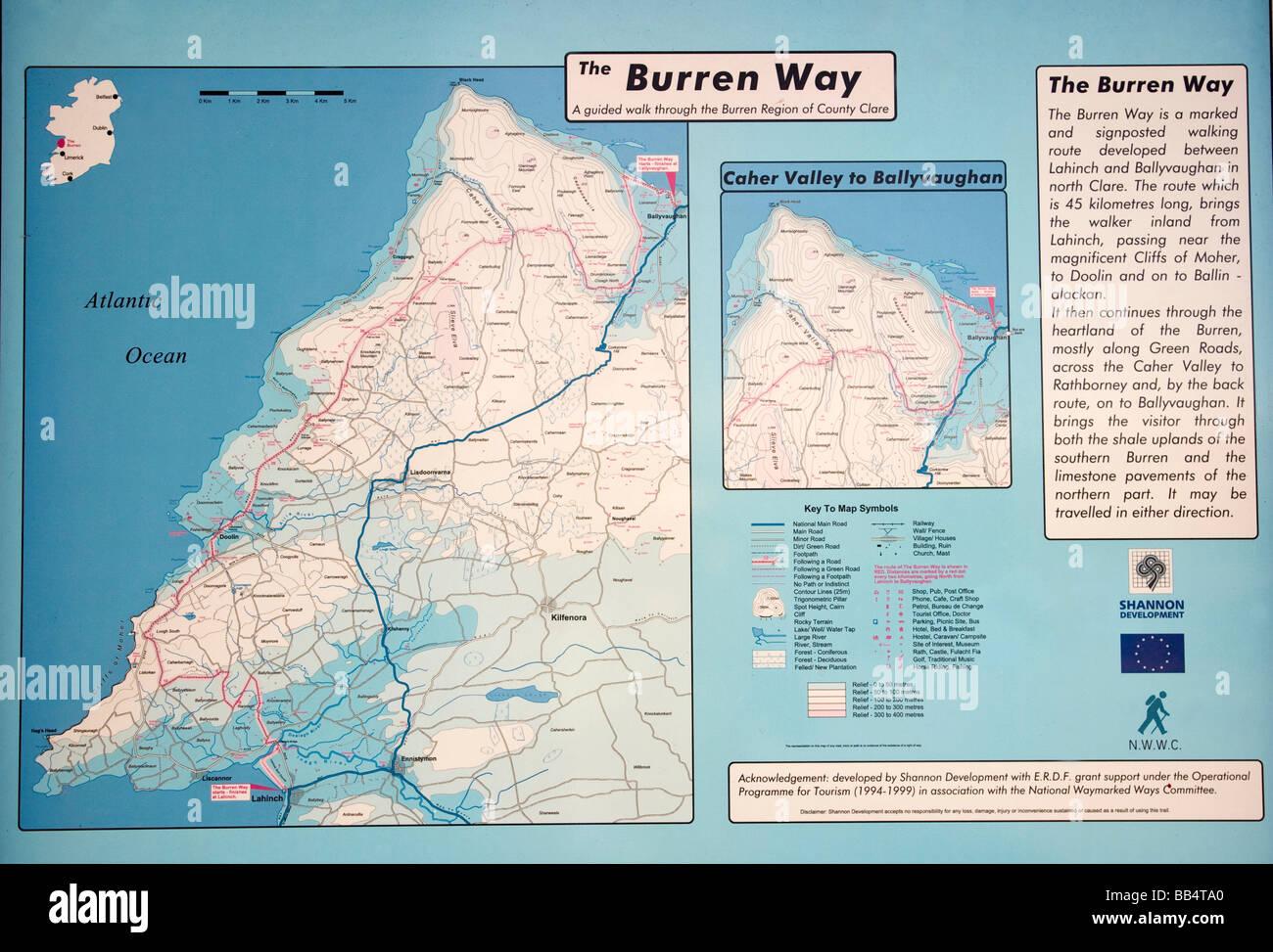 Map Of The Burren Ireland.Europe Ireland Ballyvaughan Map Of The Burren Way Hiking Path